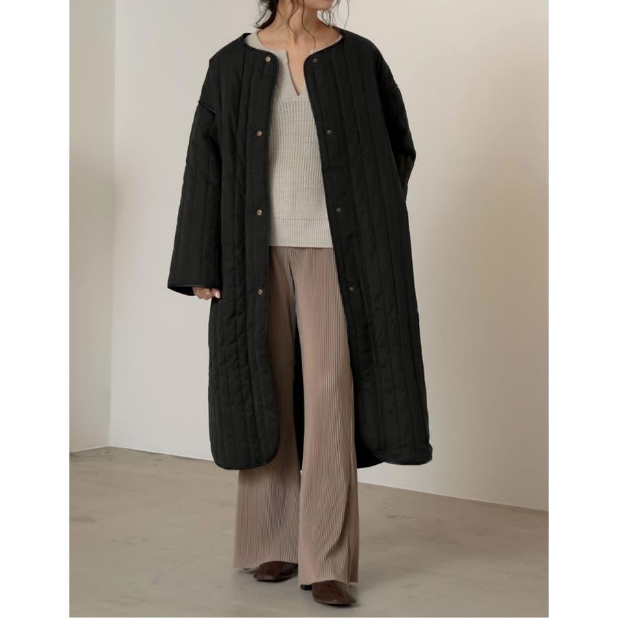 軽量で暖かくさらっと羽織れるノーカラーキルティングコート 7