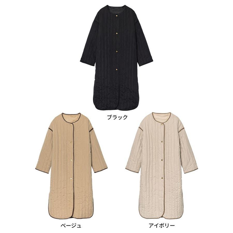 軽量で暖かくさらっと羽織れるノーカラーキルティングコート 2