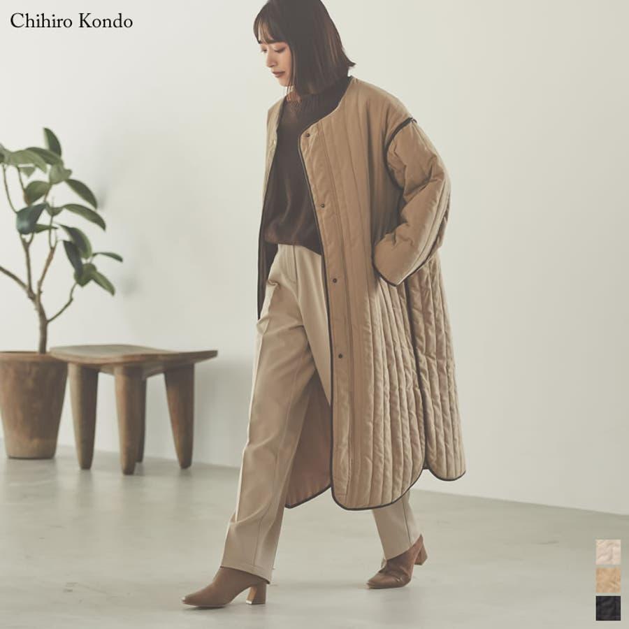 軽量で暖かくさらっと羽織れるノーカラーキルティングコート 1