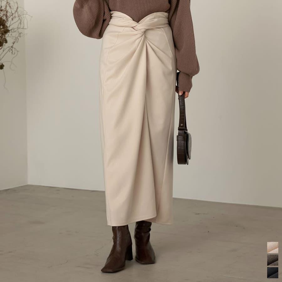 あえてカジュアルに着たいウエストコンシャスなスカート起毛ジャージーストレッチメニ… 1