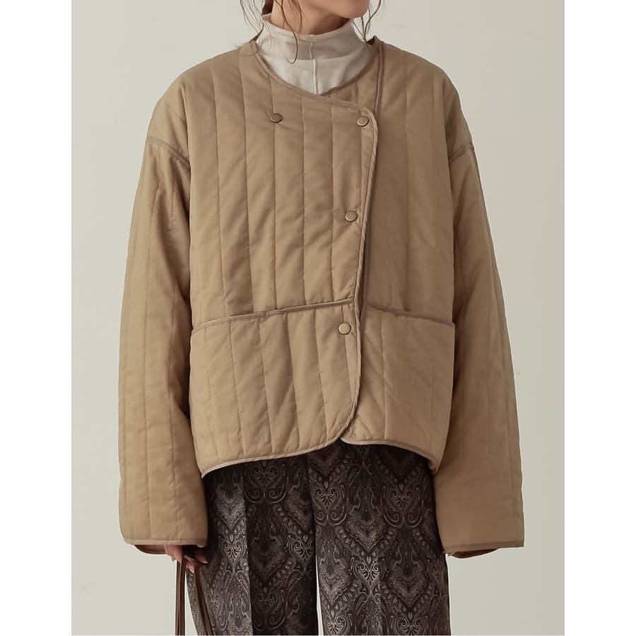 ふんわり軽いアシメジャケット リップストップ中綿キルティングナイロンジャケット 6