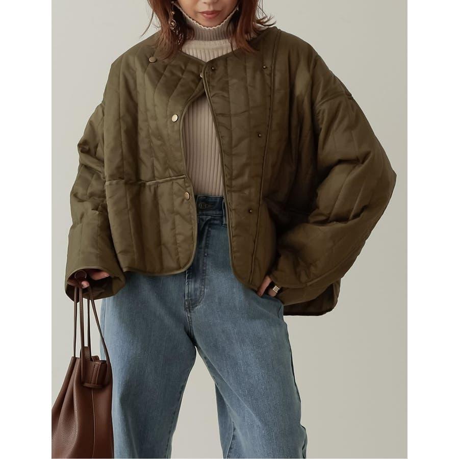 ふんわり軽いアシメジャケット リップストップ中綿キルティングナイロンジャケット 7