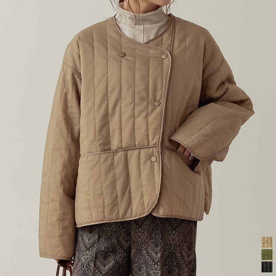 ふんわり軽いアシメジャケット リップストップ中綿キルティングナイロンジャケット 1