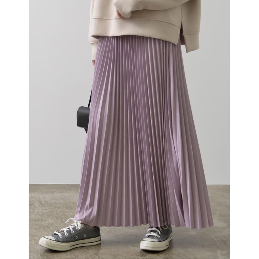 歩くたびに揺れ感キレイ、フェイクスウェードプリーツスカート 80