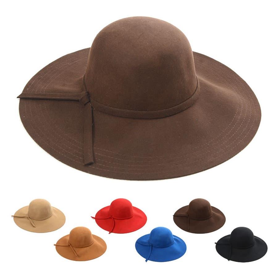 リピしました ウール つば広 リボン ハット 女優帽 帽子 レディース 魚心