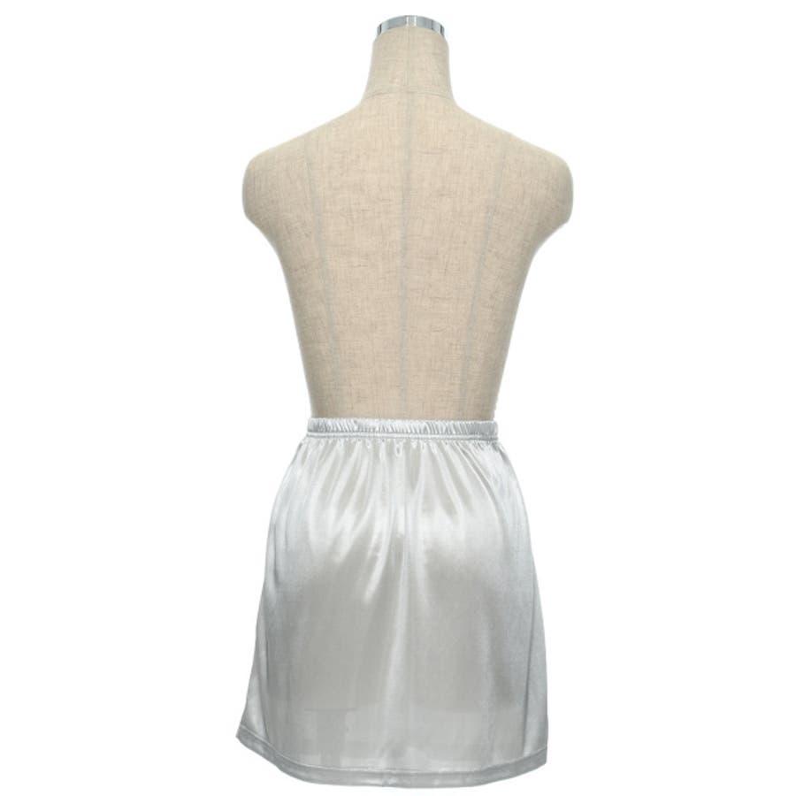 インナースカート ストレッチ ウエストゴム ペチコート オリジナル レディース CHICMUSE オフィス 5