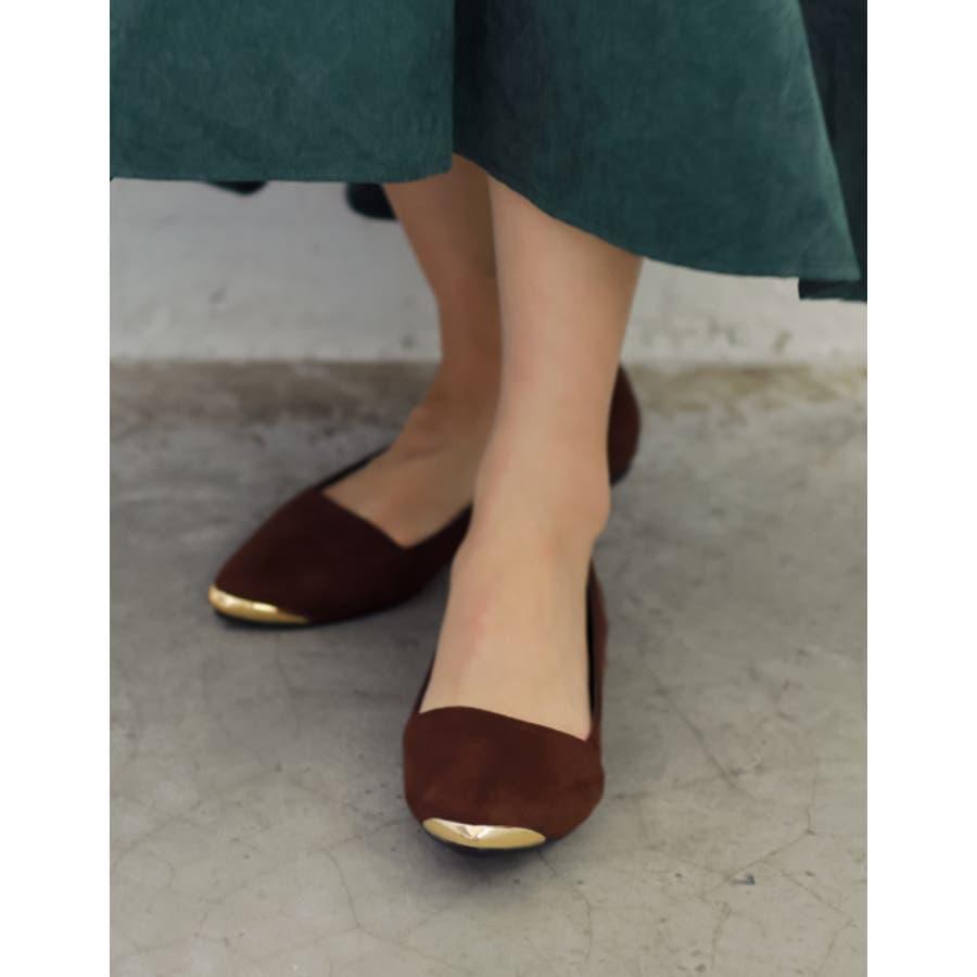 足に優しい4層クッションのメタルトゥパンプス 4層クッションメタルキャップフラットパンプス シューズ/パンプス/〜3cmヒール 2