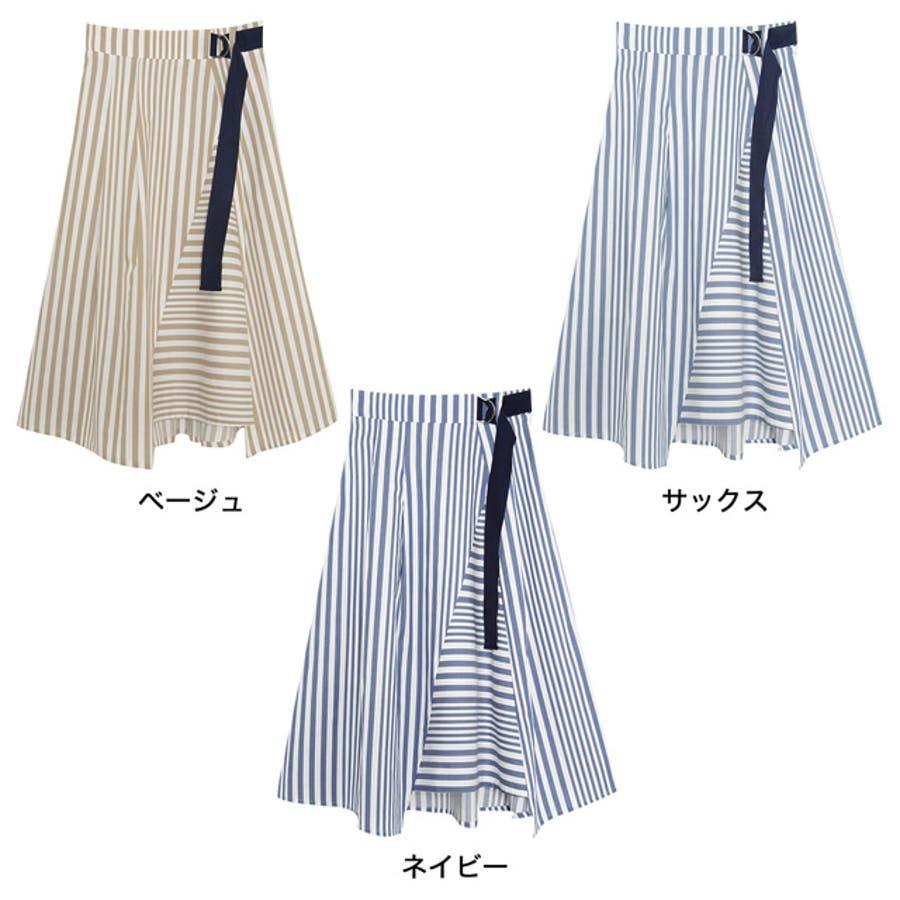 トレンドを謳歌するデザインスカート ストライプボーダーランダムフレアスカート ボトムス/スカート/ミニ丈(40〜50cm) 2