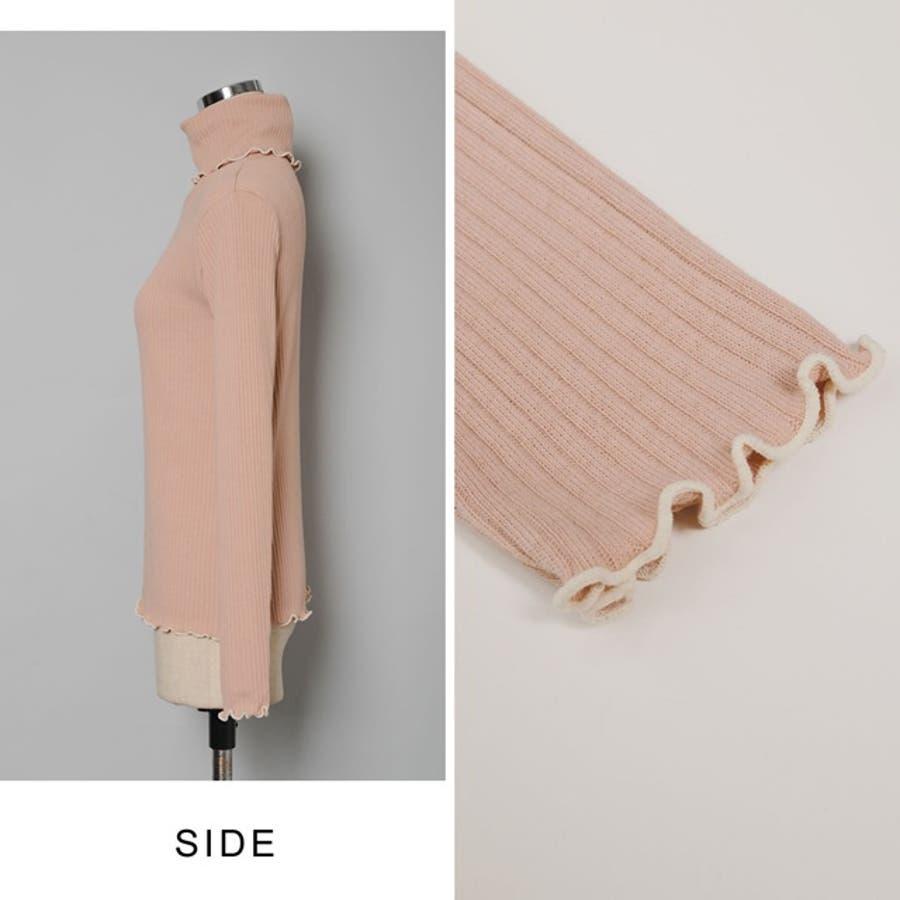 着こなしに華やかさをプラスするパイピングデザイン メロー加工タートルネックニットソートップス トップス/ニットトップス 8