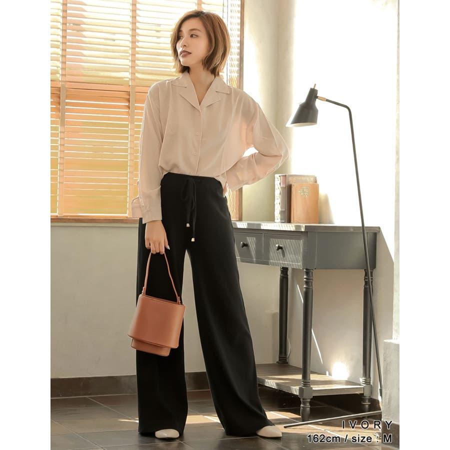 きゅっと裾を絞ってコンパクトに 裾リボンシャーリングブラウス トップス/シャツ・ブラウス 4