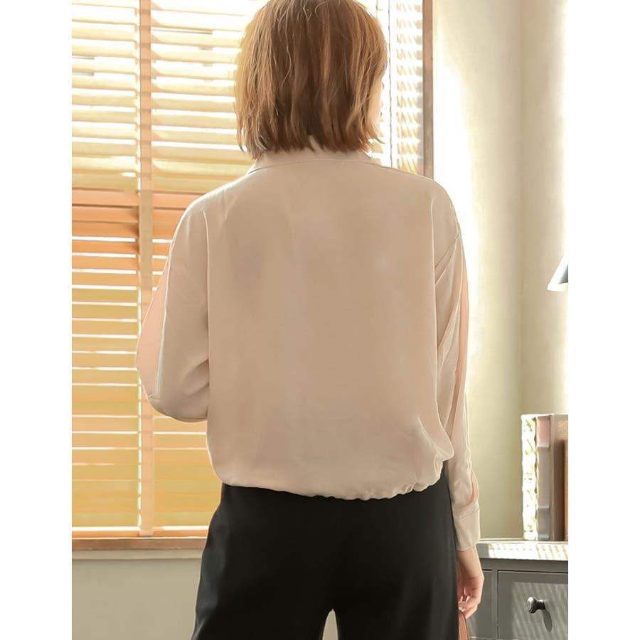 きゅっと裾を絞ってコンパクトに 裾リボンシャーリングブラウス トップス/シャツ・ブラウス 7