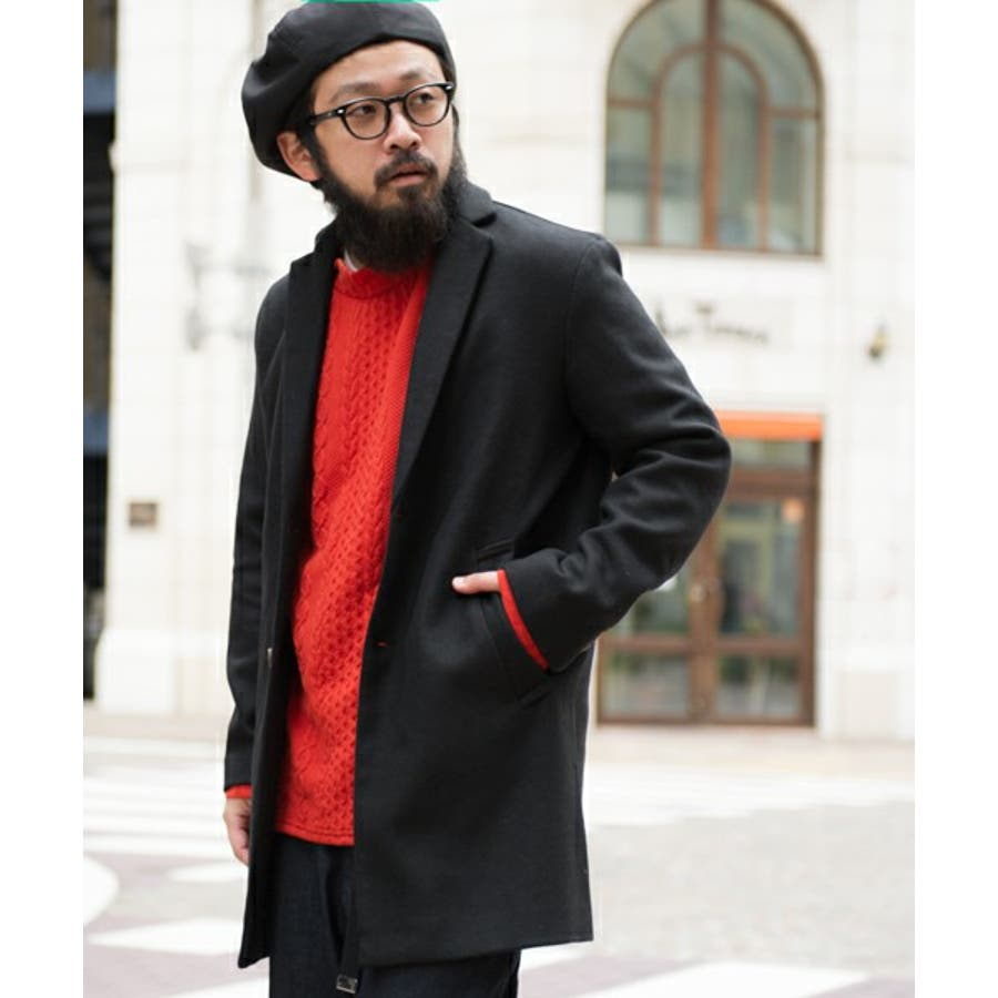 HVC/ウールチェスターコート コート メンズ メンズファッション ロング丈 ウール 無地 ボタン留め シングル