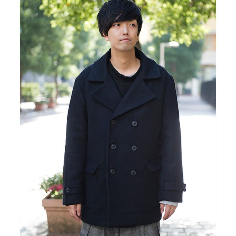 GGD GGDedition/綾Pコート Pコート ピーコート メンズ メンズファッション ブルー ネイビー 青 黒