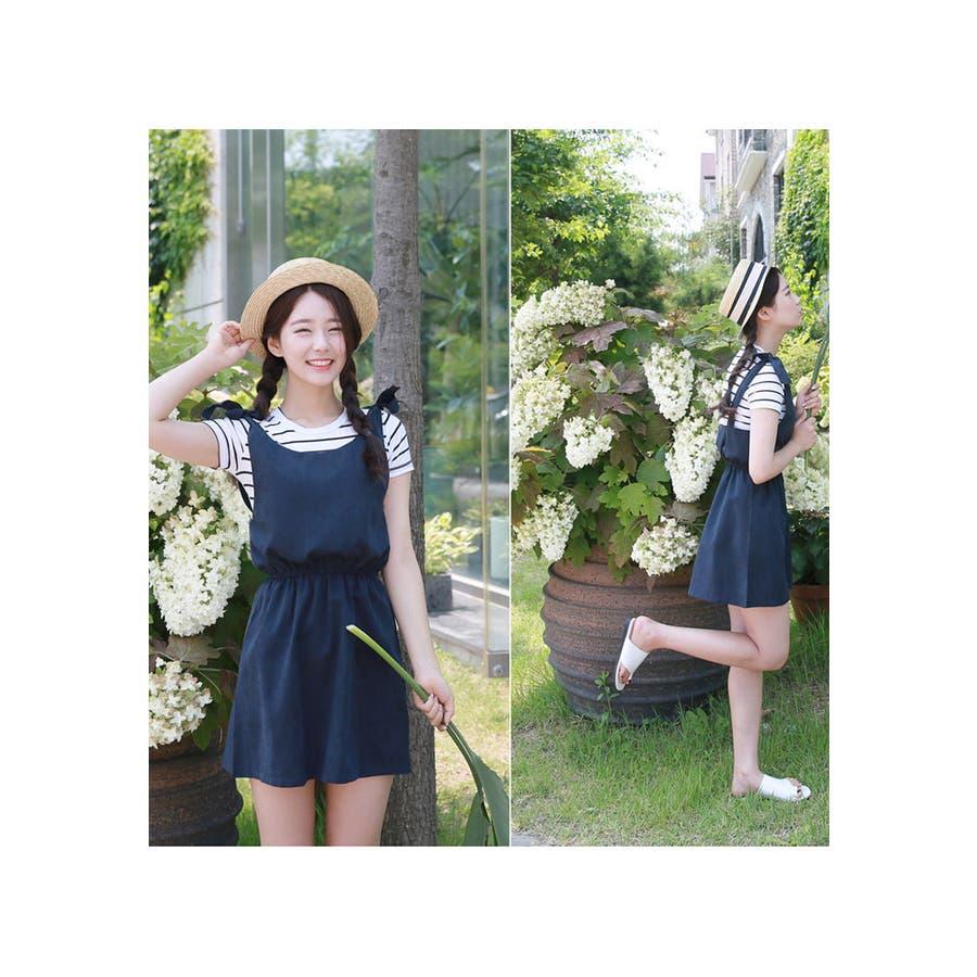 【GOGOSING】リボンショルダーミニワンピース☆レディース 秋 シンプル 韓国ファッション ガーリー ワンピース☆
