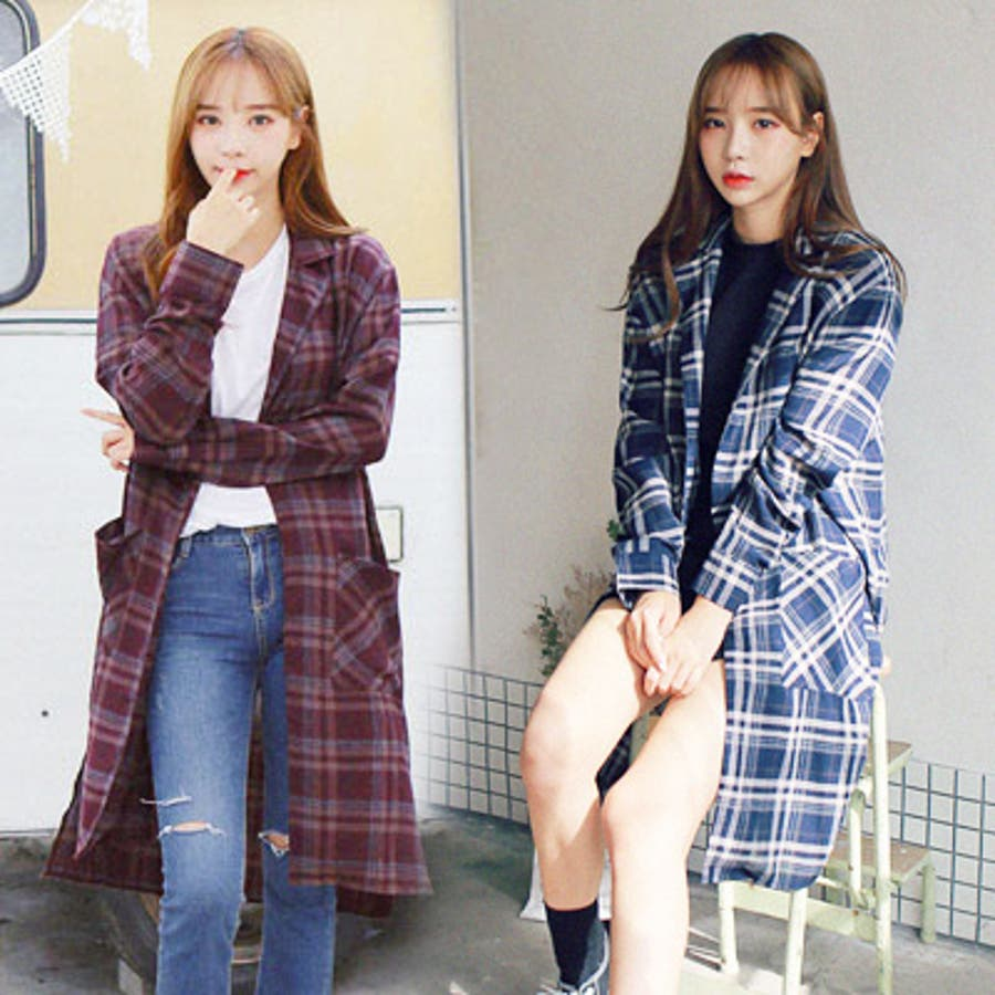 【GOGOSING】さらりチェックロングシャツ☆レディースアウター レディースコート 秋 韓国ファッション テラコッタ