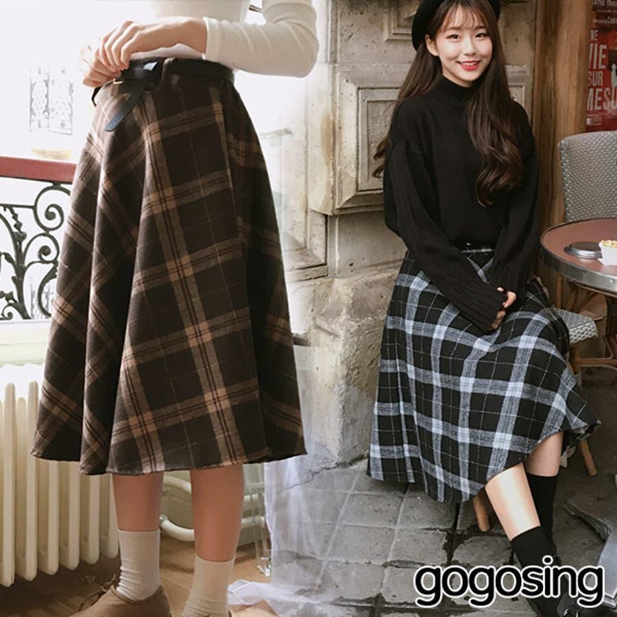 【GOGOSING】チョコチェックロングスカート☆レディーススカート ロングスカート フレアスカート チェックスカート