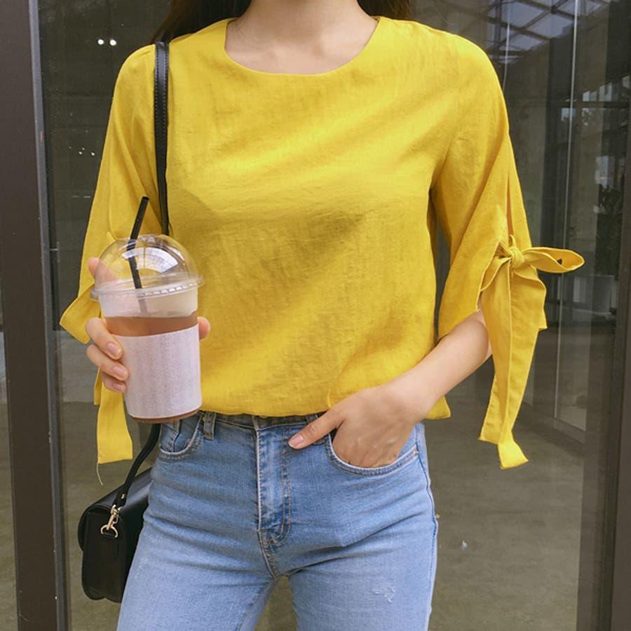 【GOGOSING】甘酸っぱいブラウス★レディースブラウス フォーマルブラウス 5分袖 リボンブラウス バルーンスリーブ 薄手レンドファッション 韓国 ファッション p000cqtm 5