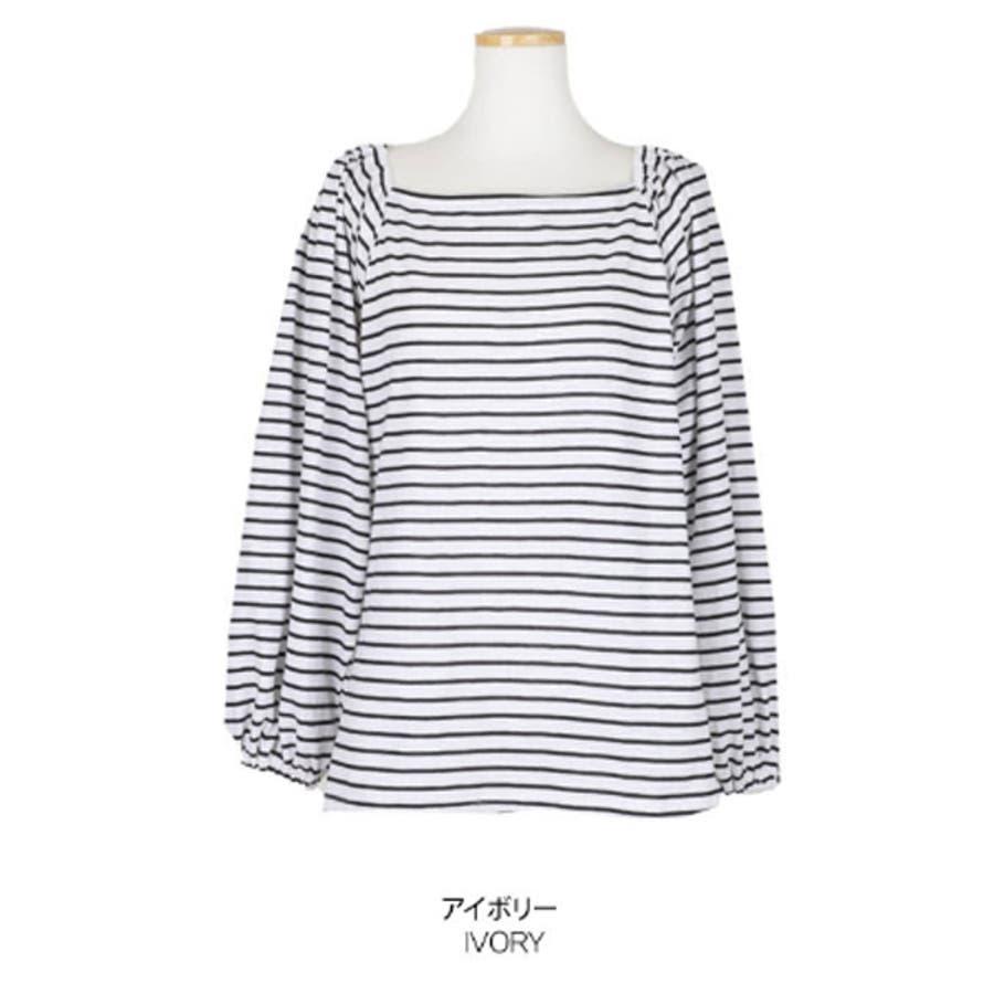 【GOGOSING】オフショルダーボーダー柄Tシャツ★オフショルダー トップス オフショルダー tシャツ ボーダー柄 韓国ファッション 新作 p000csdk 2