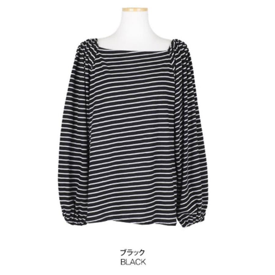 【GOGOSING】オフショルダーボーダー柄Tシャツ★オフショルダー トップス オフショルダー tシャツ ボーダー柄 韓国ファッション 新作 p000csdk 3
