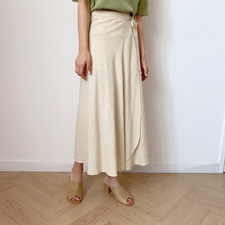 【GOGOSING】ララリネンラップロングスカート(リネン60%)★レディーススカート 無地 ロングスカート ラップスカート 新作 韓国 ファッション p000cyin 46