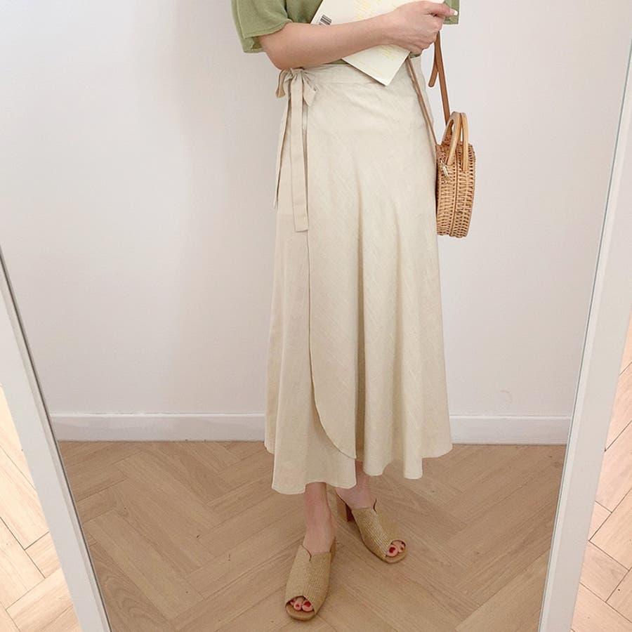 【GOGOSING】ララリネンラップロングスカート(リネン60%)★レディーススカート 無地 ロングスカート ラップスカート 新作 韓国 ファッション p000cyin 8