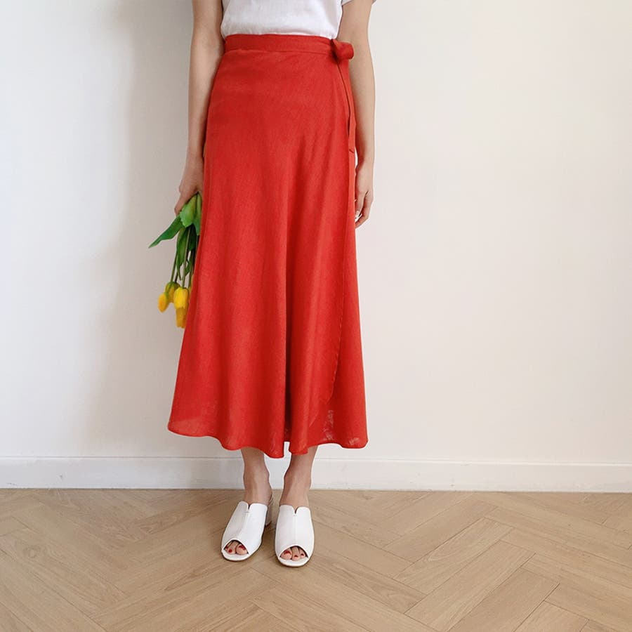 【GOGOSING】ララリネンラップロングスカート(リネン60%)★レディーススカート 無地 ロングスカート ラップスカート 新作 韓国 ファッション p000cyin 99