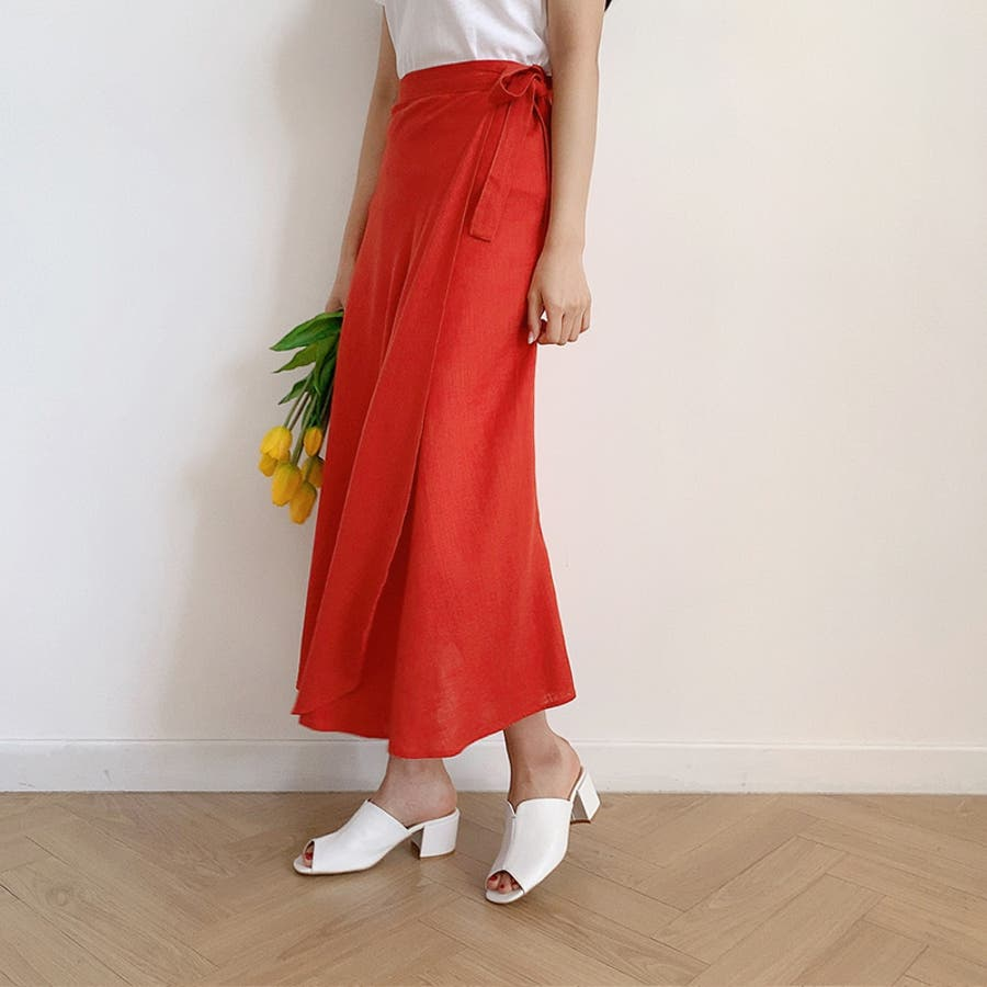 【GOGOSING】ララリネンラップロングスカート(リネン60%)★レディーススカート 無地 ロングスカート ラップスカート 新作 韓国 ファッション p000cyin 10