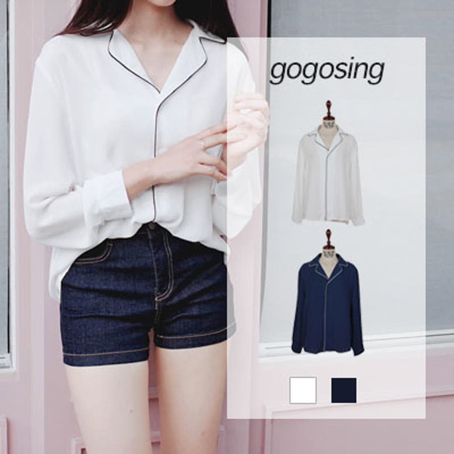 【GOGOSING】<とろみシャツ> ☆ ブラウス レディース 韓国ファッション ブラウス レディース オルチャンパジャマ