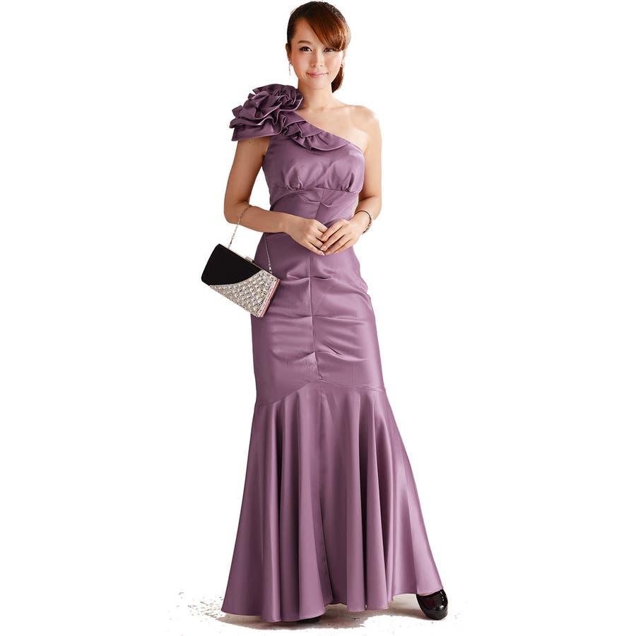 パーティードレス マーメイドラインが美しいワンショルダーロングドレス パーティドレス 結婚式などの