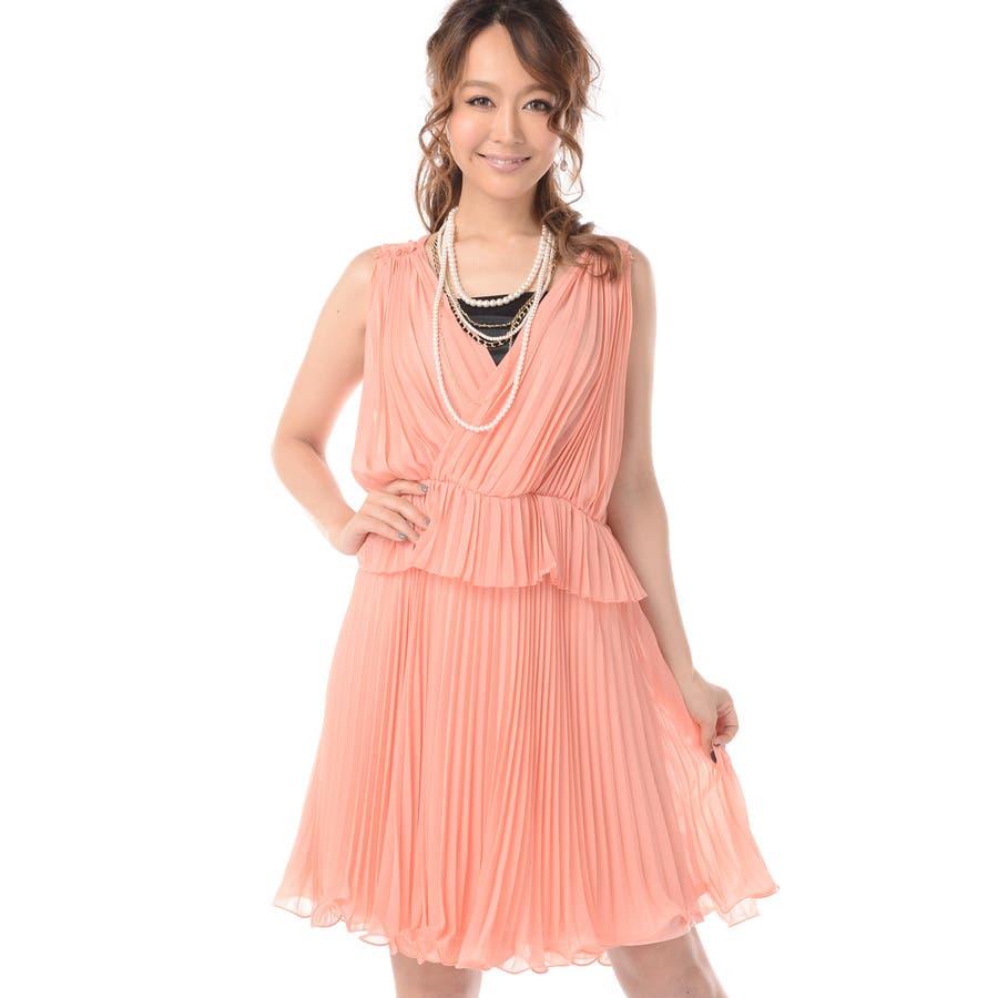 【パーティードレス】 ☆ 結婚式ドレスカシュクール×ペプラムのプリーツドレスお呼ばれ ドレス