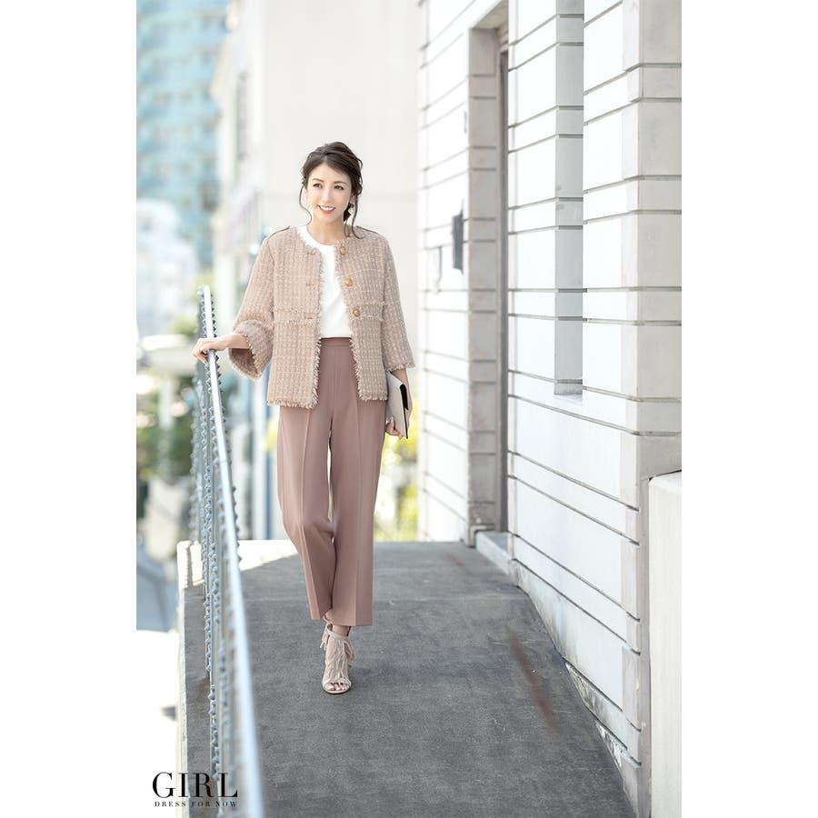 48dd896f75516 卒業式・入学式 パンツ 結婚式 ドレス お呼ばれ モデル美香着用 スーツ ...