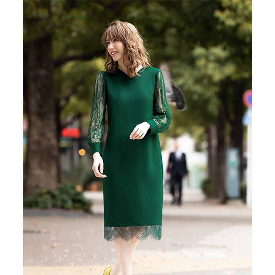 d1698d866e9a4 結婚式 ワンピース パーティードレス ドレス 袖あり 大きい レース ...