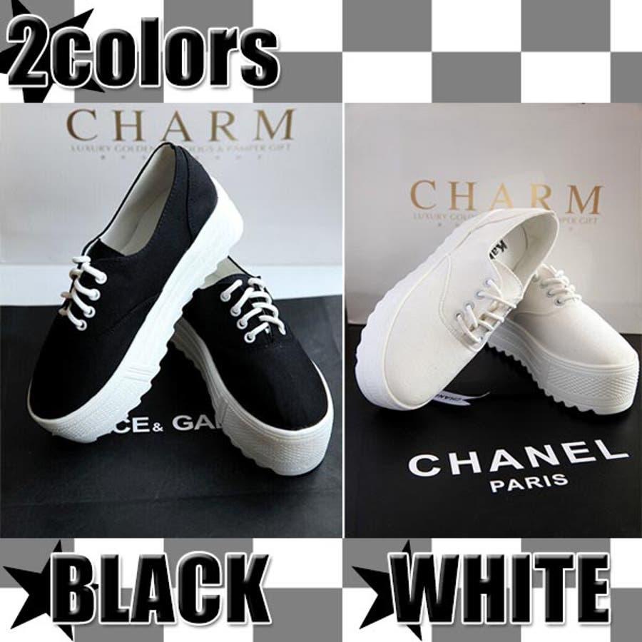 爽やかな厚底レースアップスニーカー ブラック&ホワイト2色/ウェッジソールレディース白黒
