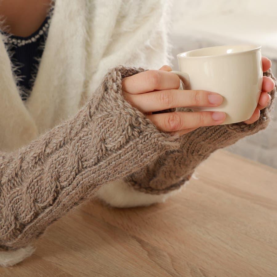 ウール100% てぶくろ屋さんが作ったウール100%もこもこ手編み風アームウォーマー 日本製 冷え取り ギフト プレゼント ひえとり 温活 あたたかい 手首 羊毛<アームカバー モコモコ あったか 手袋 暖かい ニット 誕生日プレゼント 女性 gift present ladies> 1