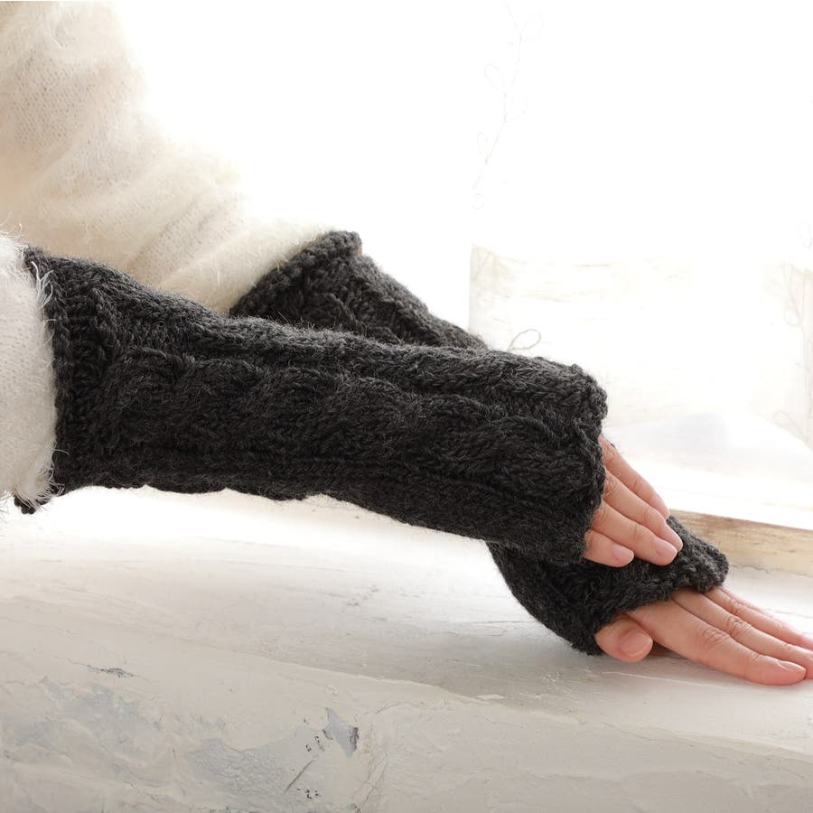 ウール100% てぶくろ屋さんが作ったウール100%もこもこ手編み風アームウォーマー 日本製 冷え取り ギフト プレゼント ひえとり 温活 あたたかい 手首 羊毛<アームカバー モコモコ あったか 手袋 暖かい ニット 誕生日プレゼント 女性 gift present ladies> 4