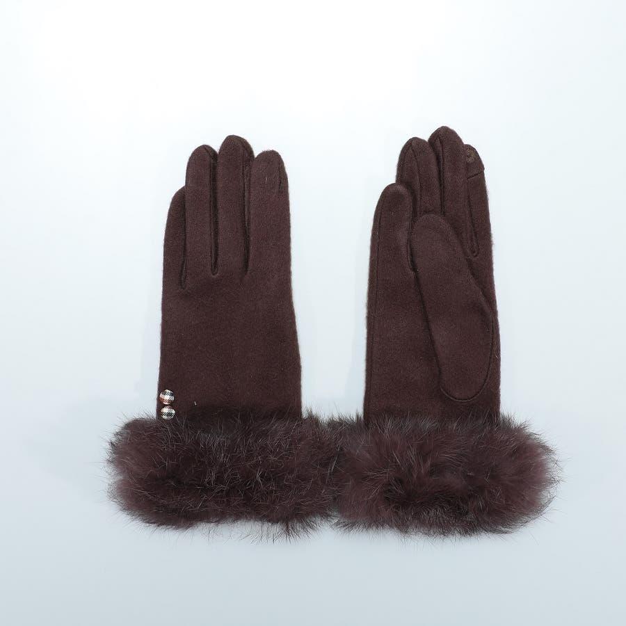 レディース ラビットファー付きジャージー手袋 ネコ柄&無地 31