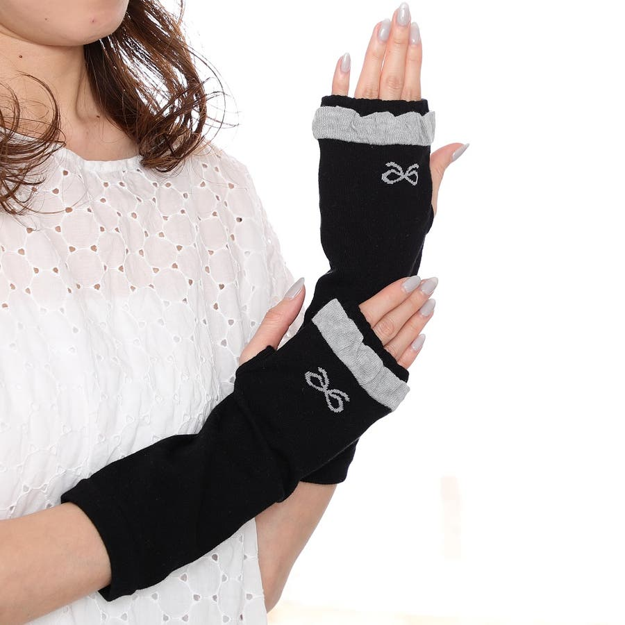 「手のひらメッシュ」で涼しく快適♪清涼 ワンポイントリボン柄 UV手袋 指なし ショートタイプ抗菌防臭<アームカバーレディースUVカット> 1