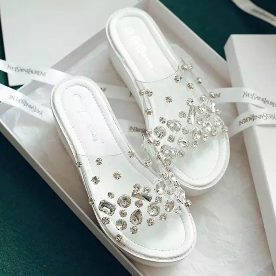 レディース 靴 サンダル ファッション 厚底 海 夏 パンプス 白 パール クリアビジューサンダル 3277