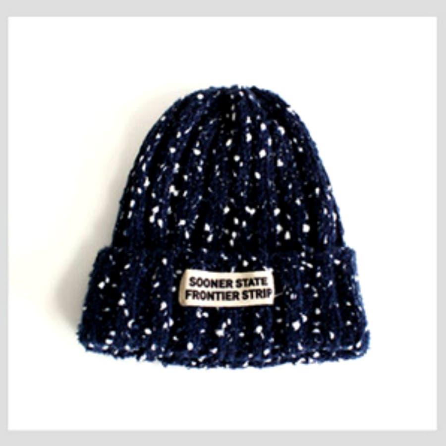 今季挑戦したい レディース ニット帽 帽子 ロゴ ざっくり編み カジュアル ミリタリー トレンド 秋冬 ざっくり編みロゴニット帽 3368 最後