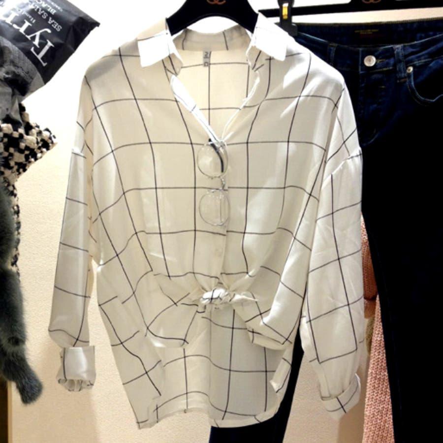 こんなの欲しかった レディース トップス シャツ 長袖 襟 チェック カジュアル 春夏 ゆったりチェックカジュアルshirt 3543 瀑声