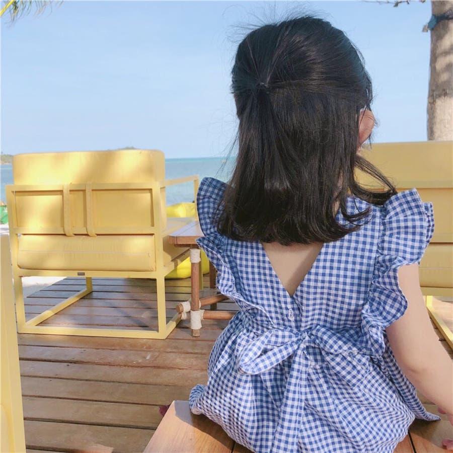 キッズ 春夏 可愛い 女の子 カジュアル フェミニン  ウエスト切り返し バックリボン フリルスリーブ ギンガムチェック シャツ ワンピース 7465  8