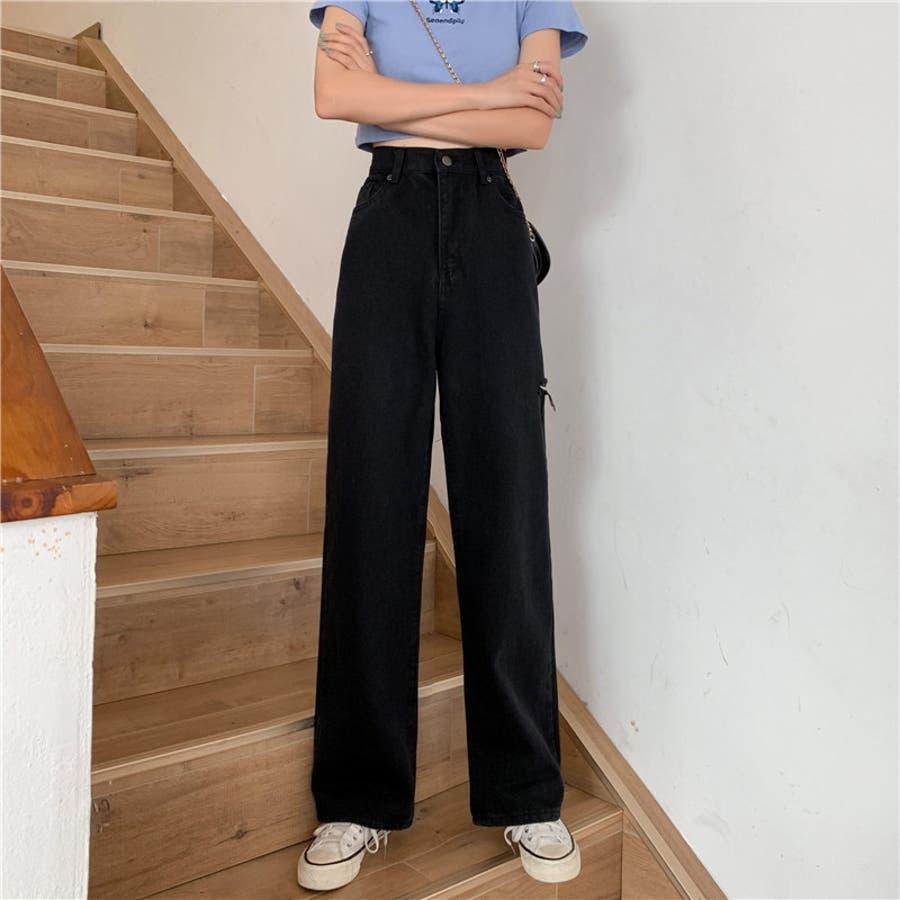 レディース ボトムス デニム ボーイズデニム  ジーパン ワイドパンツ カジュアル シンプル カット デザイン レギュラー パンツ 7562 21
