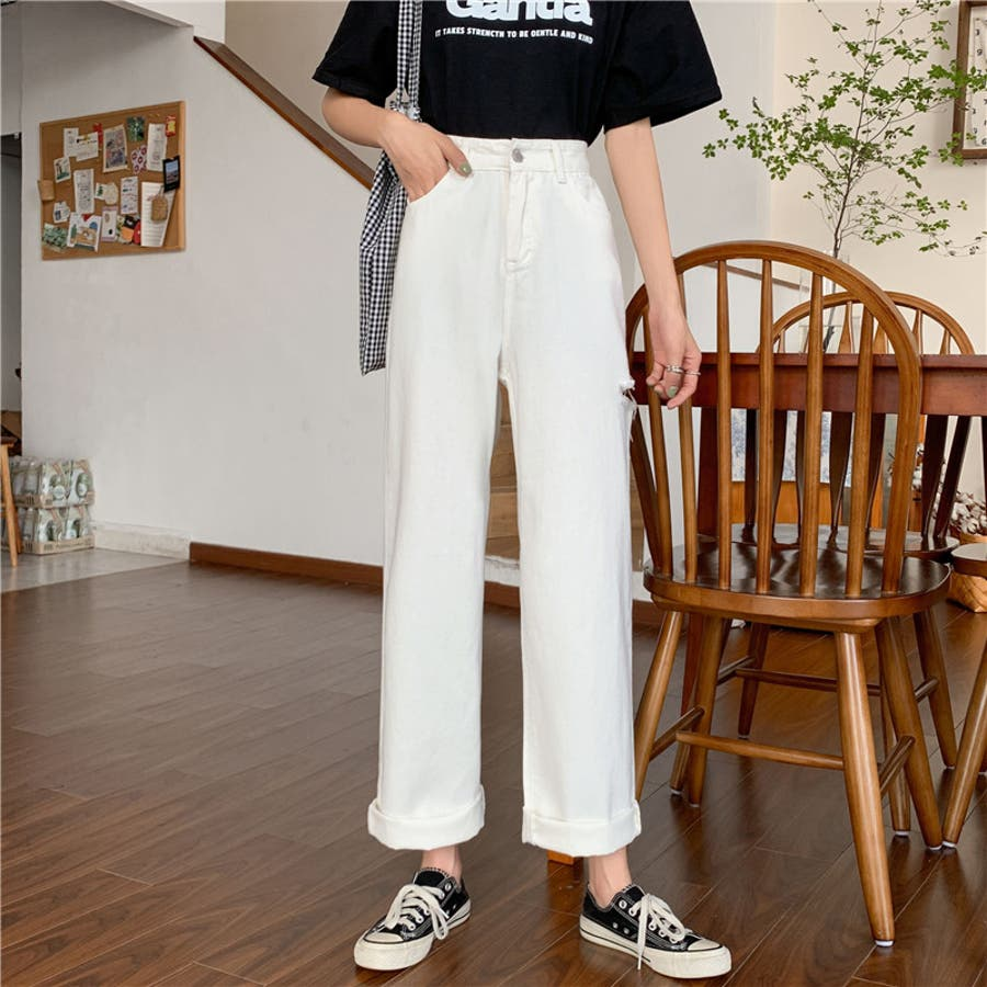 レディース ボトムス デニム ボーイズデニム  ジーパン ワイドパンツ カジュアル シンプル カット デザイン レギュラー パンツ 7562 16