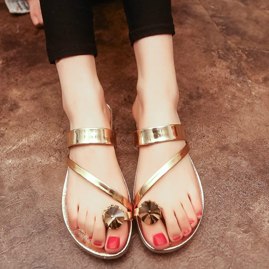 こんなの探してました レディース サンダル 靴 シューズ 春 痛くない 大きいサイズ 海 夏 キッズ ビジュー エスニックメタルビジュートング3187 爆麦