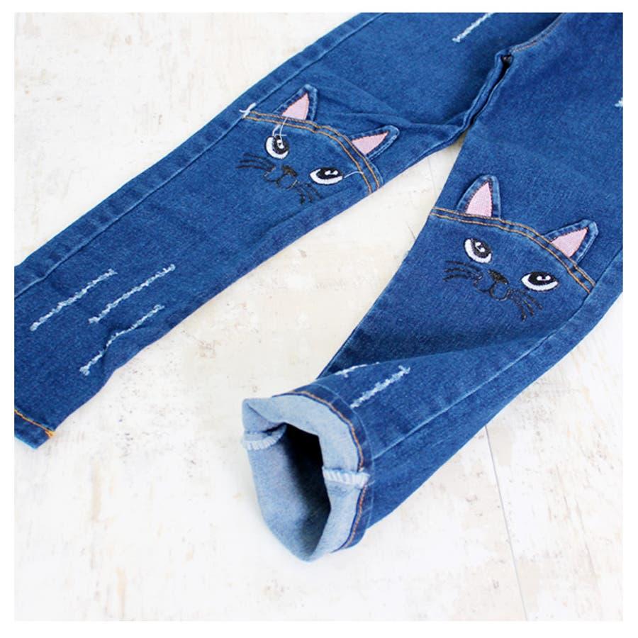 794e4245eb302 ねこ ジーパン 子供 女 猫 デニム お洒落 かわいい 人気 ズボン パンツ ...