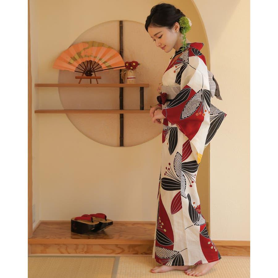 浴衣 レディース浴衣 3点セット(浴衣/帯/下駄) 赤 黒 グレー 南天 レトロモダン レトロ フリーサイズ  3