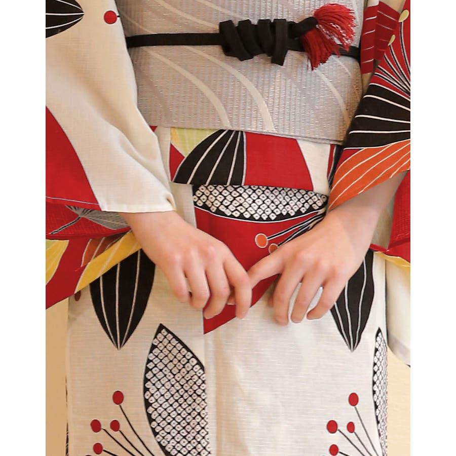浴衣 レディース浴衣 3点セット(浴衣/帯/下駄) 赤 黒 グレー 南天 レトロモダン レトロ フリーサイズ  8