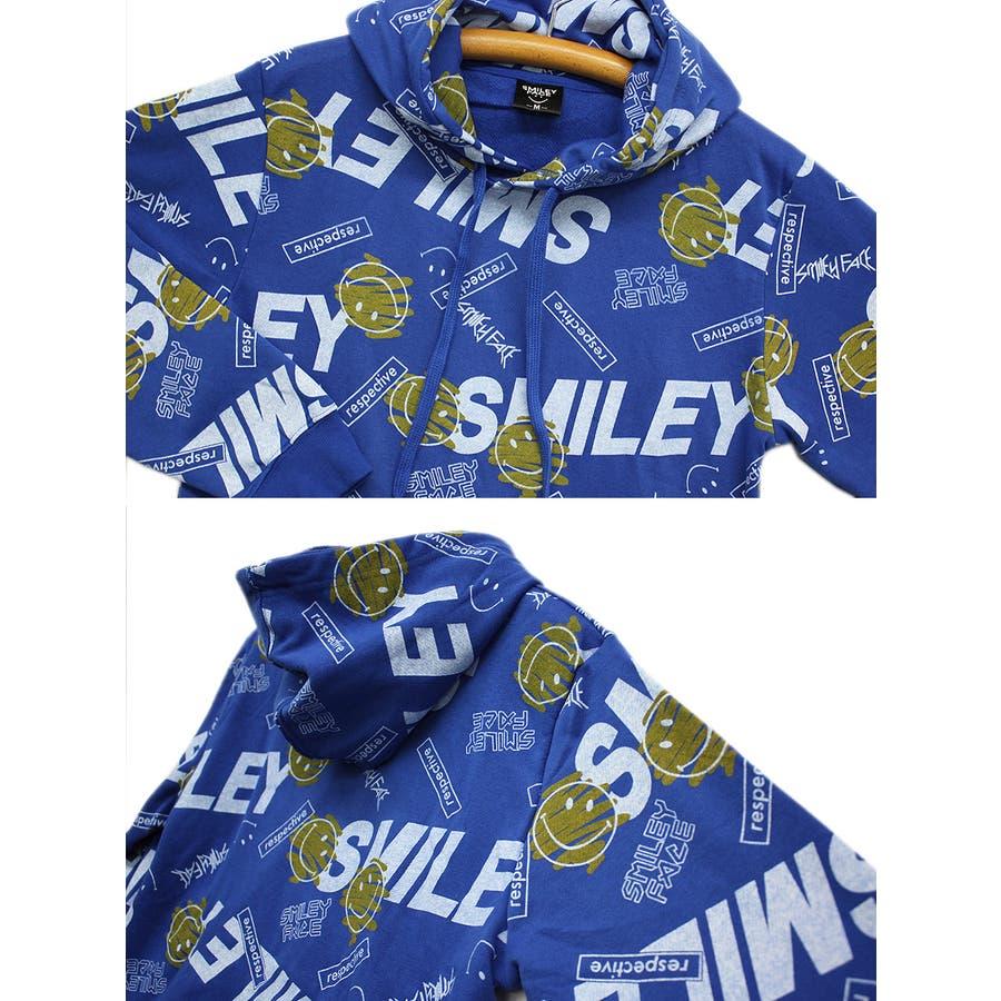 SMILEY FACE ランダムロゴ ストリート スウェット パーカー 大きいサイズ レディースOK 7