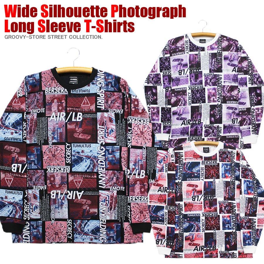 ロンT ワイド ビッグ シルエット ランダム 転写 カラーフォト ストリート ロングスリーブ Tシャツ 大きいサイズ レディース OK 1