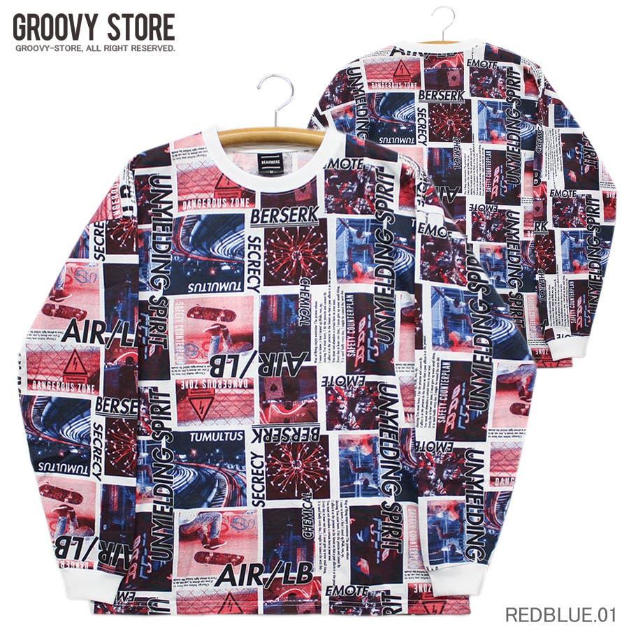ロンT ワイド ビッグ シルエット ランダム 転写 カラーフォト ストリート ロングスリーブ Tシャツ 大きいサイズ レディース OK 98